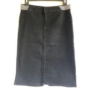 Distressed Black Pencil Skirt